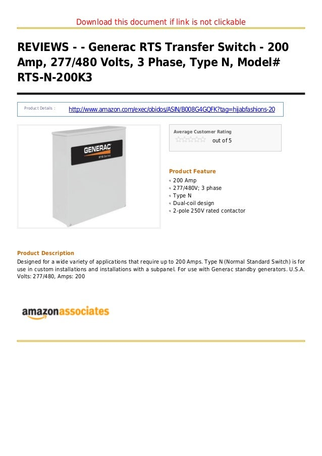 Download this document if link is not clickableREVIEWS - - Generac RTS Transfer Switch - 200Amp, 277/480 Volts, 3 Phase, T...