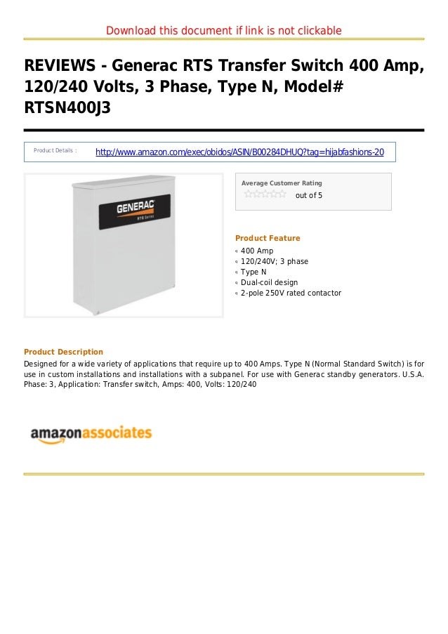 Download this document if link is not clickableREVIEWS - Generac RTS Transfer Switch 400 Amp,120/240 Volts, 3 Phase, Type ...