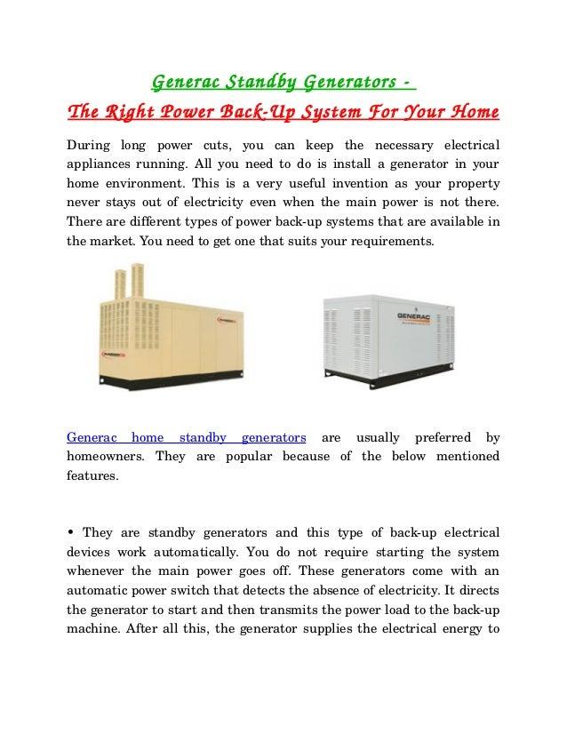 GeneracStandbyGeneratorsTheRightPowerBackUpSystemForYourHomeDuring  long  power  cuts,  you  can  keep ...