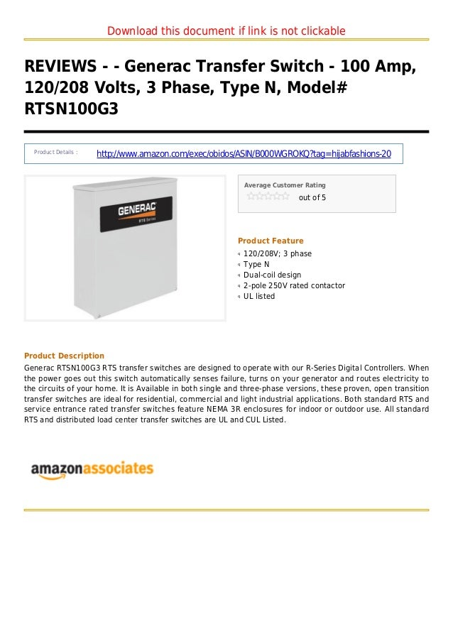 Download this document if link is not clickableREVIEWS - - Generac Transfer Switch - 100 Amp,120/208 Volts, 3 Phase, Type ...