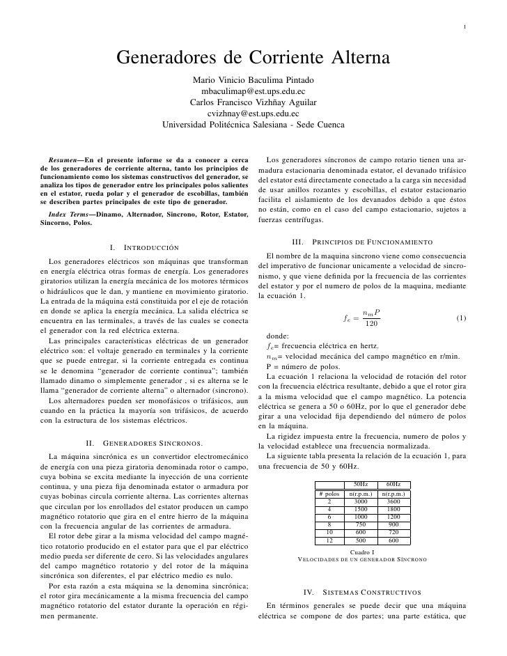 1                           Generadores de Corriente Alterna                                               Mario Vinicio B...