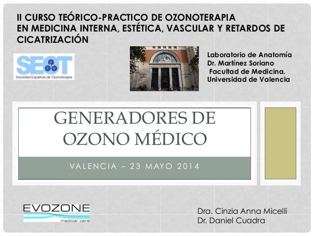 VA L E N C I A – 2 3 M AY O 2 0 1 4 GENERADORES DE OZONO MÉDICO Dra. Cinzia Anna Micelli Dr. Daniel Cuadra II CURSO TEÓRIC...