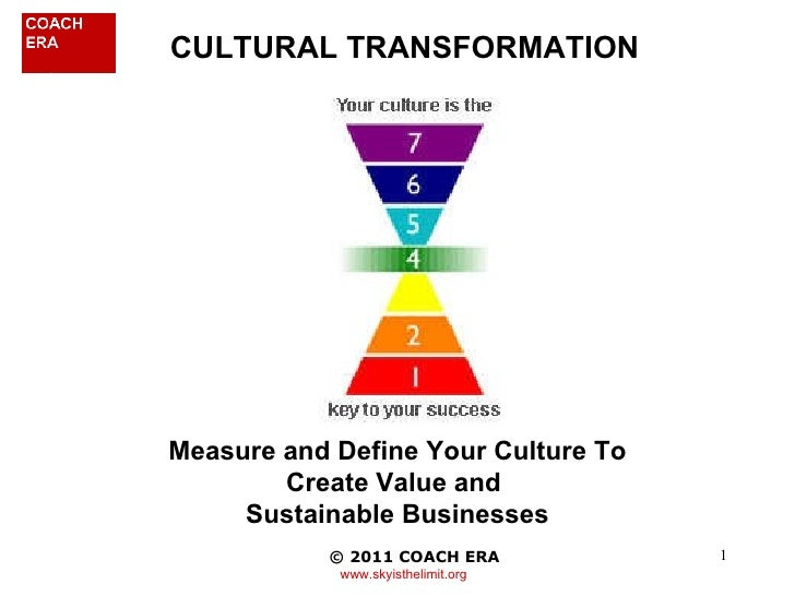 CULTURAL TRANSFORMATION © 2010 COACH ERA   www.skyisthelimit.org Measure and Define Your Culture To Create Value and  Su...