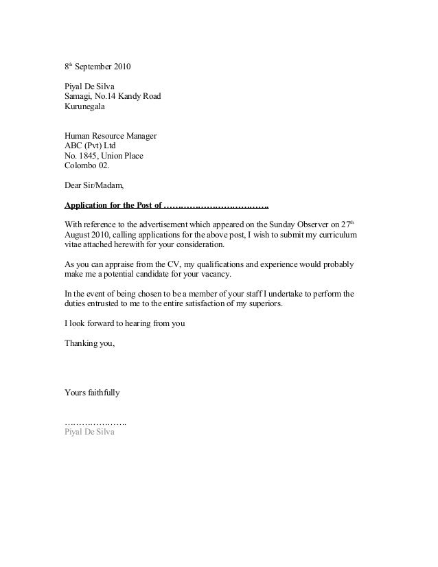 Exceptional General Cover Letter Format 1. 8th September 2010Piyal De SilvaSamagi,  No.14 Kandy RoadKurunegalaHuman Resource ManagerABC (Pvt)