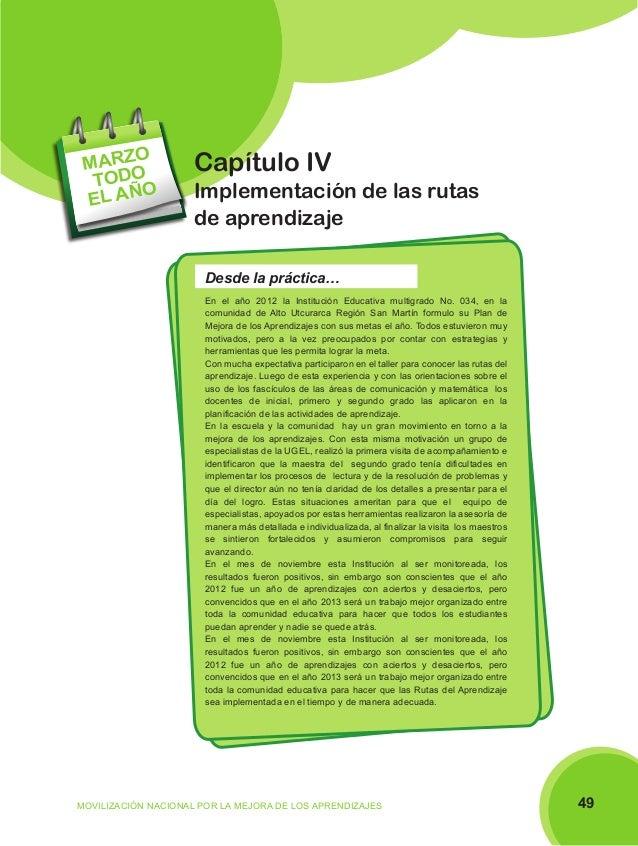 O MARZ TODO O EL AÑ  Capítulo IV Implementación de las rutas de aprendizaje Desde la práctica… En el año 2012 la Instituci...