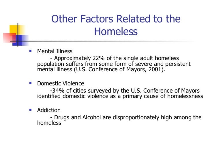 Homelessness cause and effect