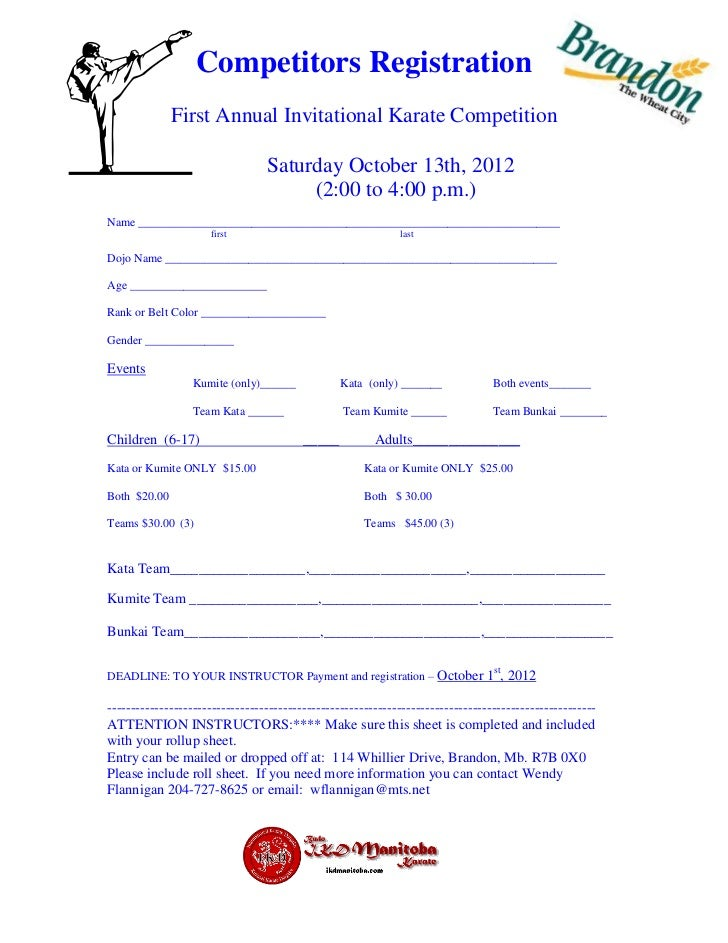 General Registration Form Brandon Invitational Karate Tournament 2012