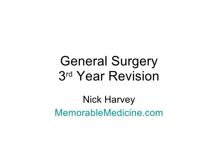 General Surgery 3 rd  Year Revision Nick Harvey MemorableMedicine.com