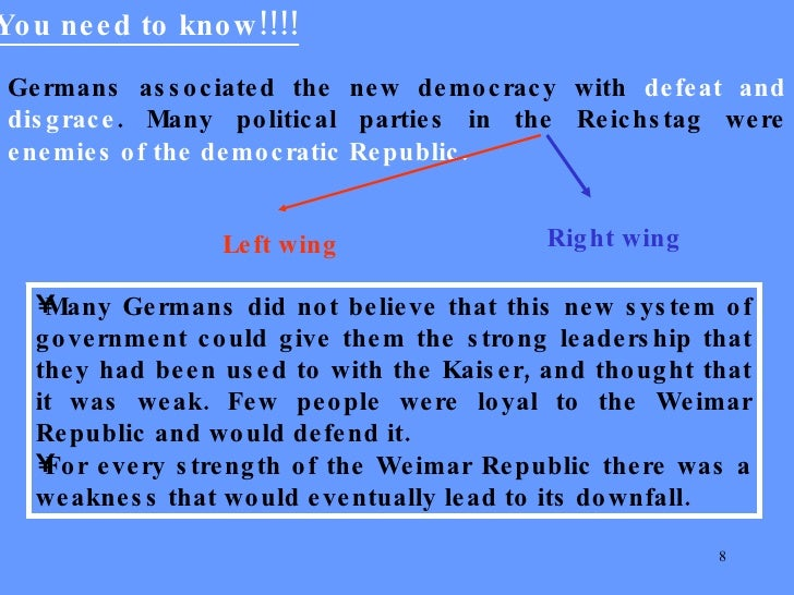 weimar government and its weaknesses essay The government of the weimar republic operated without a single, clear goal, which significantly hurt its stability there were many political parties whose goals directly clashed with each other there were many political parties whose goals directly clashed with each other.