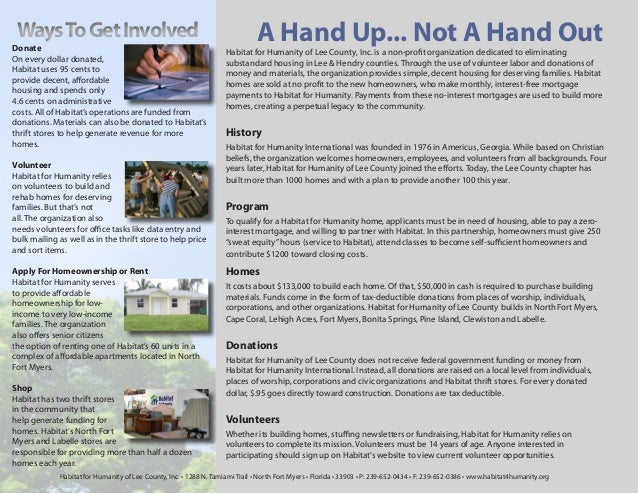 Ways To Get InvolvedDonate                                                                               A Hand Up... Not ...