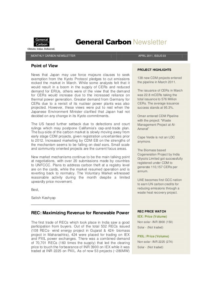 General Carbon NewsletterMONTHLY CARBON NEWSLETTER                                          APRIL 2011, ISSUE:03Point of V...