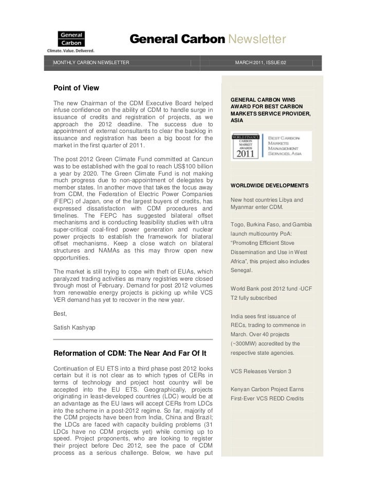 General Carbon NewsletterMONTHLY CARBON NEWSLETTER                                        MARCH 2011, ISSUE:02Point of Vie...