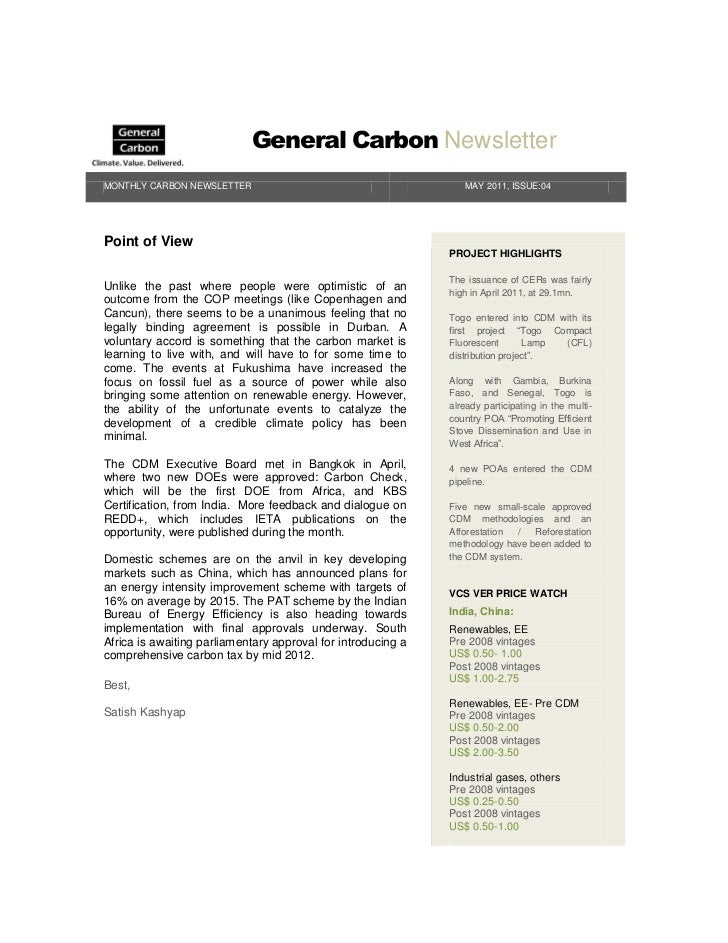 General Carbon NewsletterMONTHLY CARBON NEWSLETTER                                        MAY 2011, ISSUE:04Point of View ...