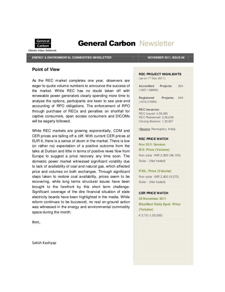 General Carbon NewsletterENERGY & ENVIRONMENTAL COMMODITIES NEWSLETTER                           NOVEMBER 2011, ISSUE:06Po...
