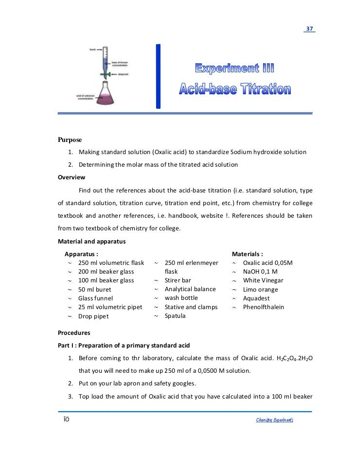 Titration Lab: NaOH with Standardized solution of KHP