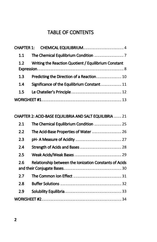 Workbook for General Chemistry II