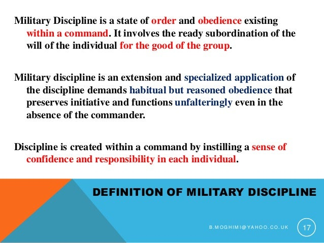 military discipline definition