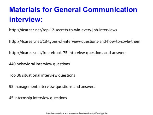 General communication interview questions and answers