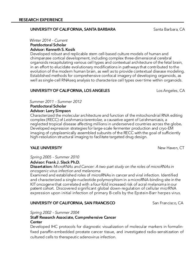 Molecular Biologist Academic Cv For Industry Or Private Sector Consid