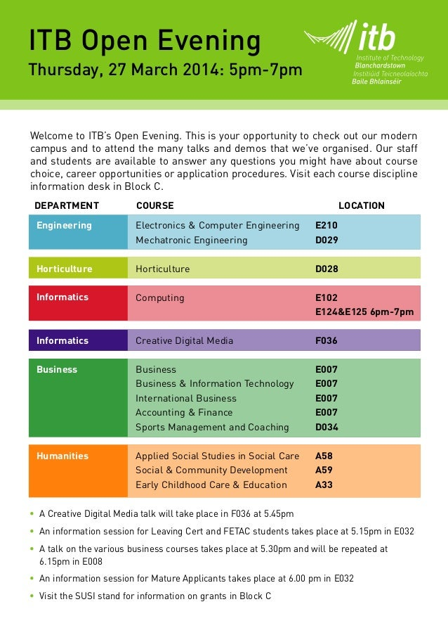 • A Creative Digital Media talk will take place in F036 at 5.45pm • An information session for Leaving Cert and FETAC stud...