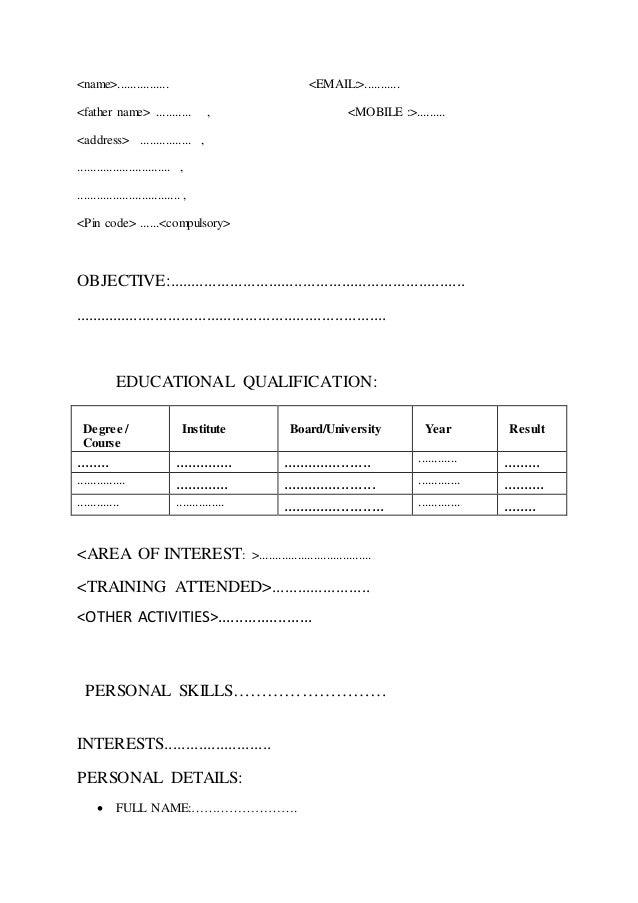 general form of resume