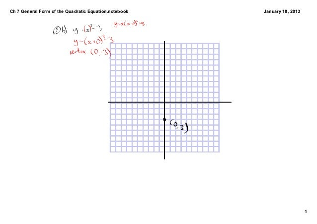 Ch 7 General Form of the Quadratic Equation.notebook   January 18, 2013                                                   ...