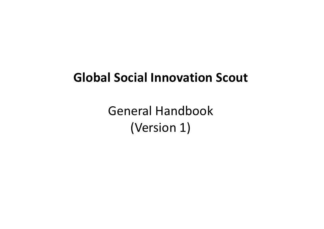 Global Social Innovation Scout     General Handbook        (Version 1)
