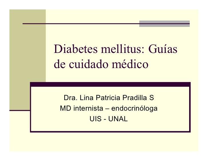 Diabetes mellitus: Guías de cuidado médico    Dra. Lina Patricia Pradilla S  MD internista – endocrinóloga           UIS -...