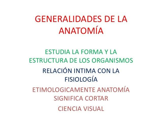 GENERALIDADES DE LA ANATOMÍA ESTUDIA LA FORMA Y LA ESTRUCTURA DE LOS ORGANISMOS RELACIÓN INTIMA CON LA FISIOLOGÍA ETIMOLOG...