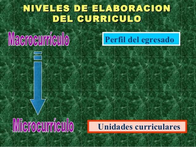Perfil del egresadoUnidades curricularesNIVELES DE ELABORACIONNIVELES DE ELABORACIONDEL CURRICULODEL CURRICULO