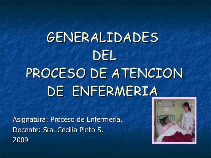 GENERALIDADES            DEL    PROCESO DE ATENCION       DE ENFERMERIA  Asignatura: Proceso de Enfermería. Docente: Sra. ...