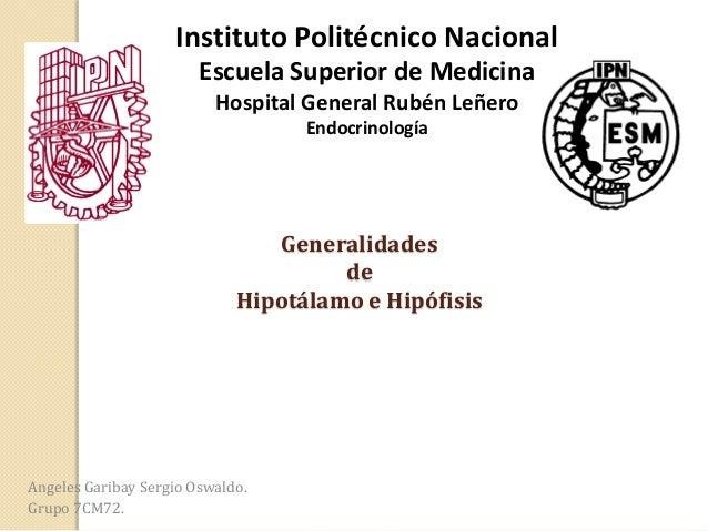 Instituto Politécnico Nacional Escuela Superior de Medicina Hospital General Rubén Leñero Endocrinología  Generalidades de...