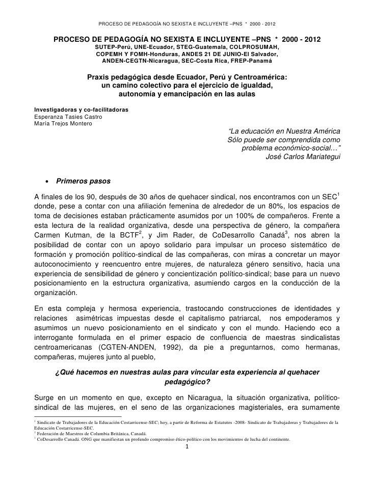 PROCESO DE PEDAGOGÍA NO SEXISTA E INCLUYENTE –PNS * 2000 - 2012             PROCESO DE PEDAGOGÍA NO SEXISTA E INCLUYENTE ...