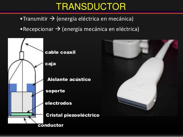 TRANSDUCTOR •Transmitir  (energía eléctrica en mecánica) •Recepcionar  (energía mecánica en eléctrica) cable coaxil caja...