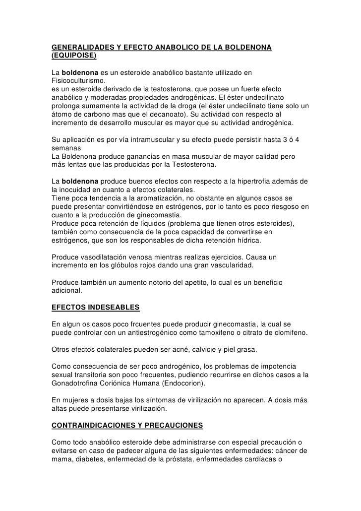 GENERALIDADES Y EFECTO ANABOLICO DE LA BOLDENONA (EQUIPOISE)<br />La boldenona es un esteroide anabólico bastante utilizad...