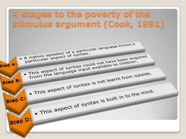 the poverty of stimulus argument and The poverty of stimulus argument and the cognitive revolution m c psy 3703 05 oct 2009 the poverty of stimulus argument and the cognitive revolution language is what distinguishes human beings from all the other species living in this world.