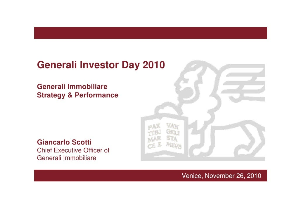 Generali Immobiliare Strategy & Performance