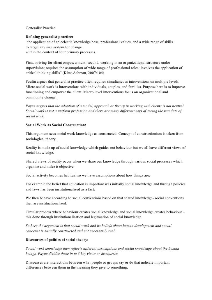 """Generalist Practice  Defining generalist practice: """"the application of an eclectic knowledge base, professional values, an..."""