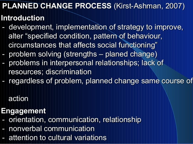 planned change Change is the constant in healthcare on a daily basis, healthcare managers and care providers are dealing with new staff, new technology, new payment systems, and new evidence-based practices the importance of planned change allows for a roadmap to be created minimizing the speed bumps and wrong turns.