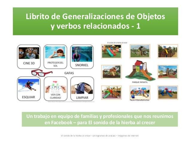 Librito de Generalizaciones de Objetos y verbos relacionados - 1 el sonido de la hierba al crecer – pictogramas de arasaac...