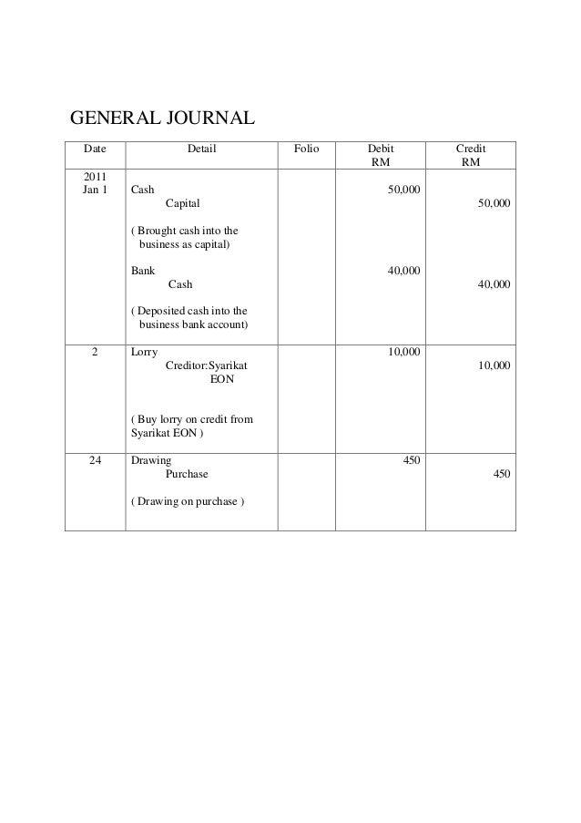 GENERAL JOURNAL Date Detail Folio Debit RM Credit RM 2011 Jan 1 Cash Capital ( Brought cash into the business as capital) ...