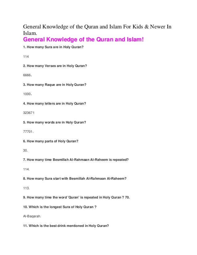 General knowledge of the Quran and Islam for kids