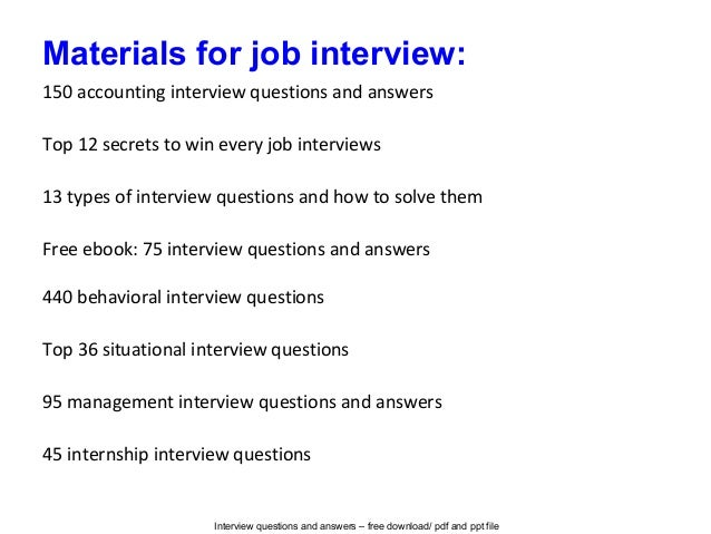 Accountant job interview questions