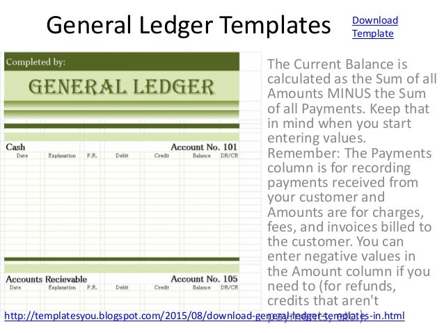 General Ledger Templates The Current Balance Is Calculated As The Sum Of  All Amounts MINUS The ...  General Ledger Template