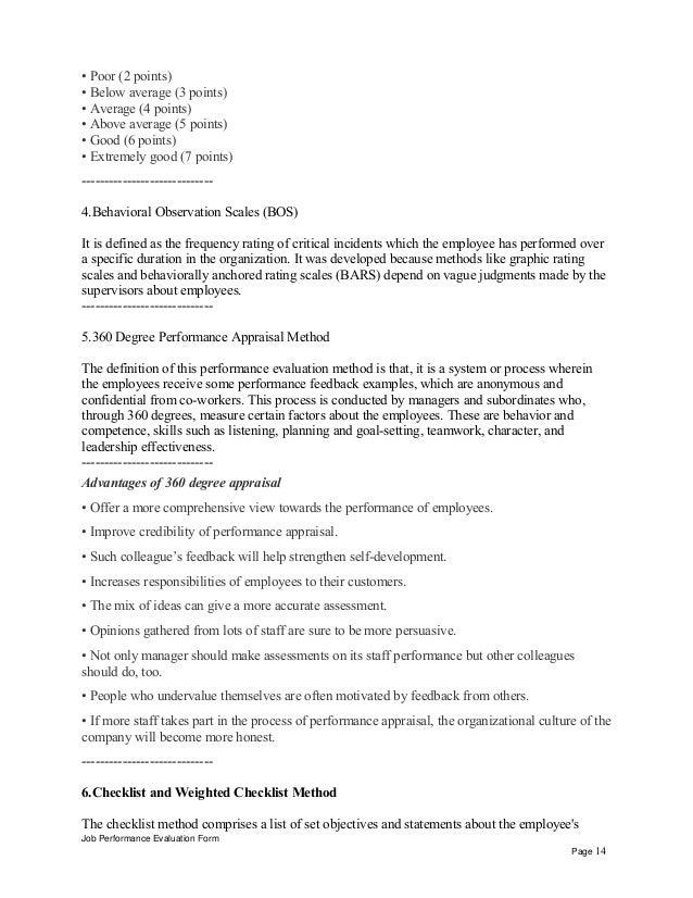 General manager business development performance appraisal