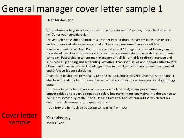 Amazing General Manager Cover Letter ... Throughout General Manager Cover Letter