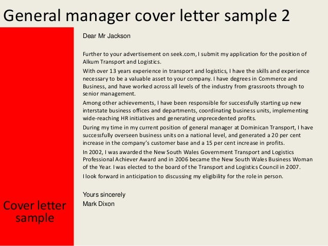 General manager cover letter for Cover letter for a senior management position