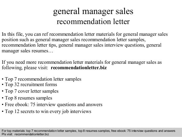 General manager sales recommendation letter interview questions and answers free download pdf and ppt file general manager sales recommendation fandeluxe PDF