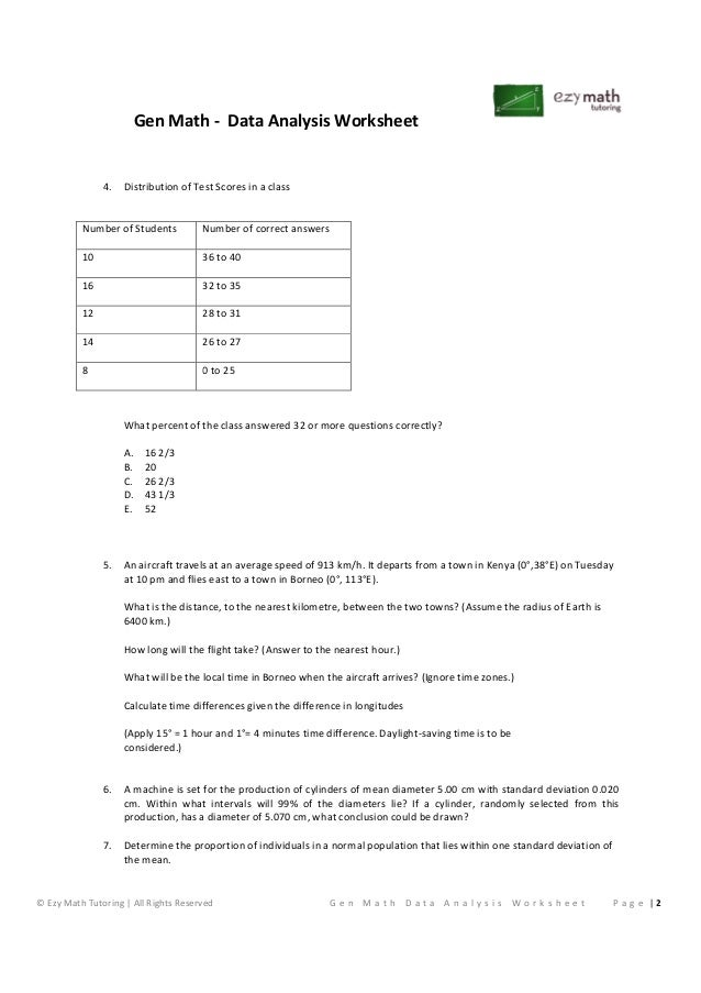 General Math Data Analysis Worksheet