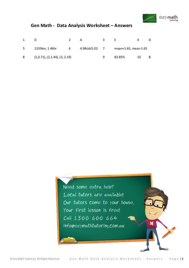 General math data analysis worksheet answers